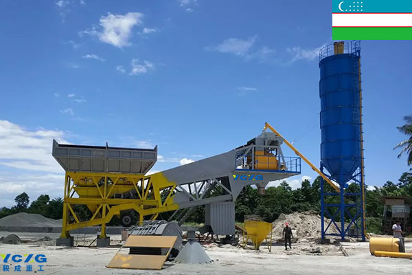 Two sets of YHZS25 mobile concrete mixing plants exported to Uzbekistan